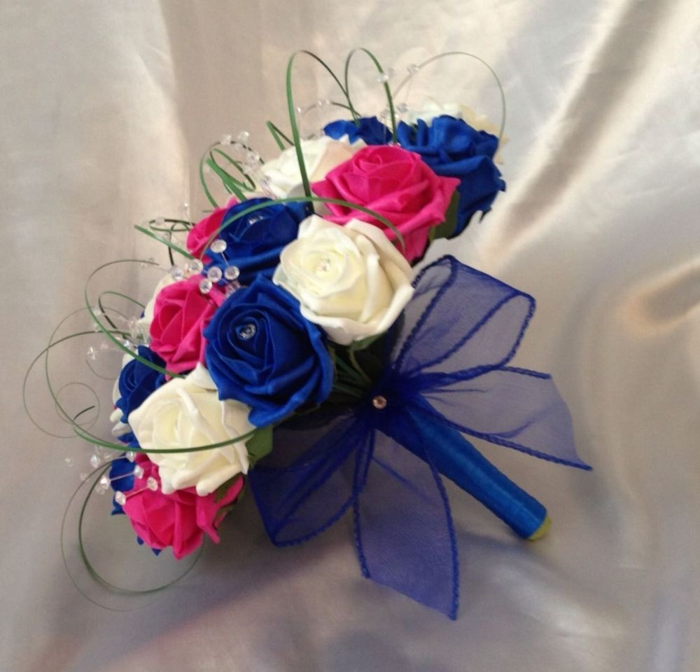 WEDDING FLOWERS ARTIFICIAL IVORY HOT PINK ROYAL BLUE ROSE